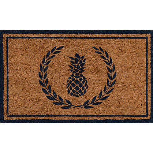 "1'6""x2'6"" Pineapple Doormat, Navy"