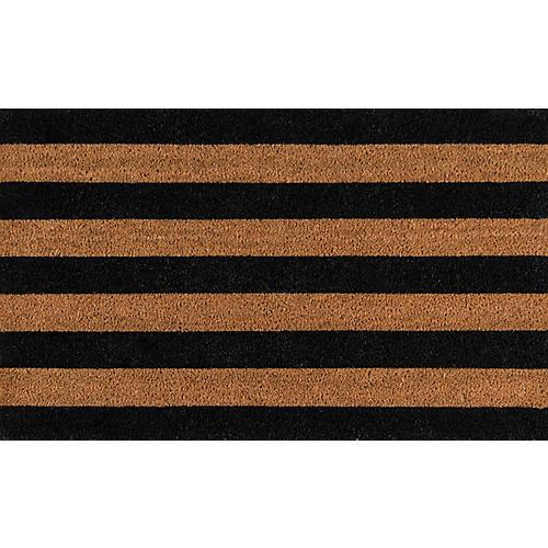 """1'6""""x2'6"""" Stripe Doormat, Black"""