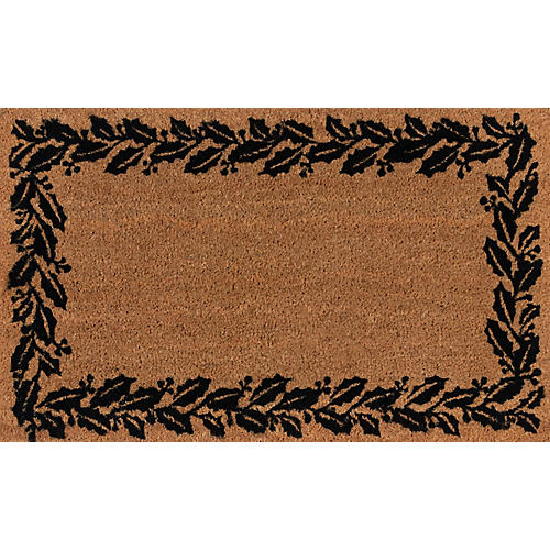 "1'8""x2'9"" Holly Border Doormat, Black"