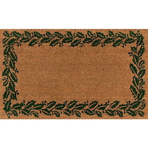 "1'8""x2'9"" Holly Border Doormat, Green"