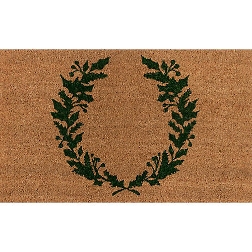 "1'8""x2'9"" Holiday Laurel Doormat, Green"