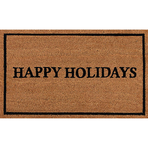 "1'8""x2'9"" Holiday Greeting Doormat, Black"