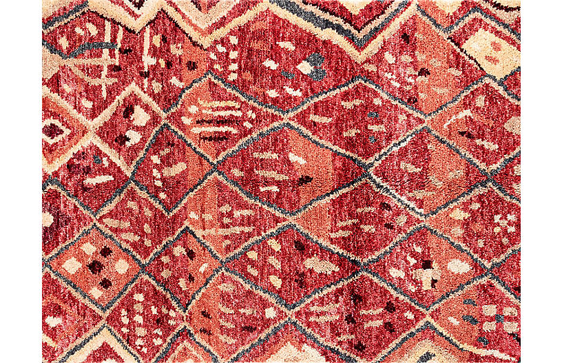 Doukkala Gnibi Hand-Knotted Rug, Red