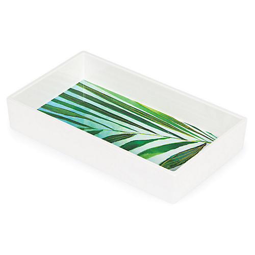 Palm Napkin Tray, Green/White