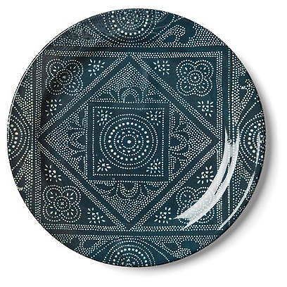 S/4 Dawn Batik Melamine Dinner Plates, Indigo