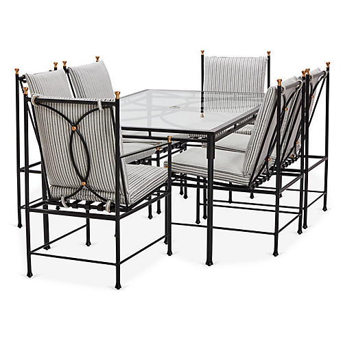 Frances 7-Pc Dining Set, White/Black Stripe