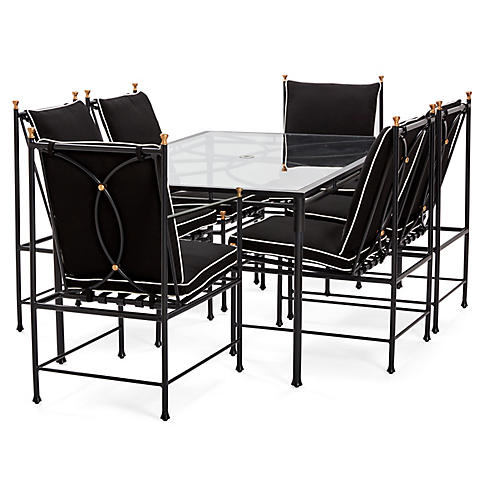 Frances 7-Pc Dining Set, Black/White
