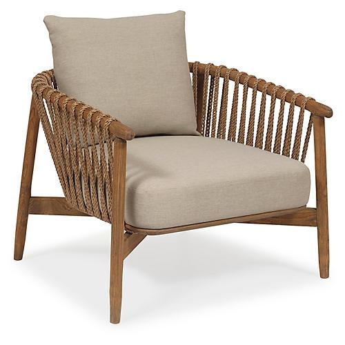 Tulum Rattan Accent Chair, Praline/Taupe