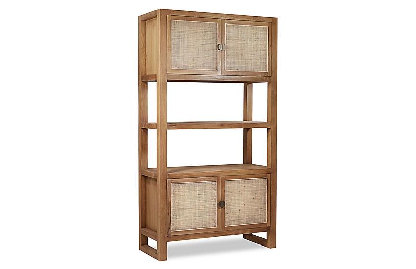 Ellis Rattan Bookcase, Natural