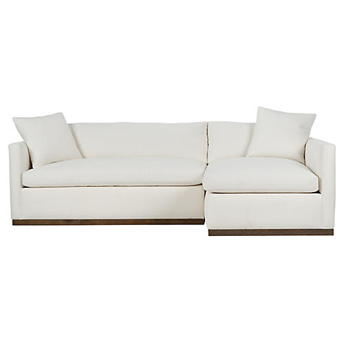 Francis Right-Facing Sectional, Ivory Crypton