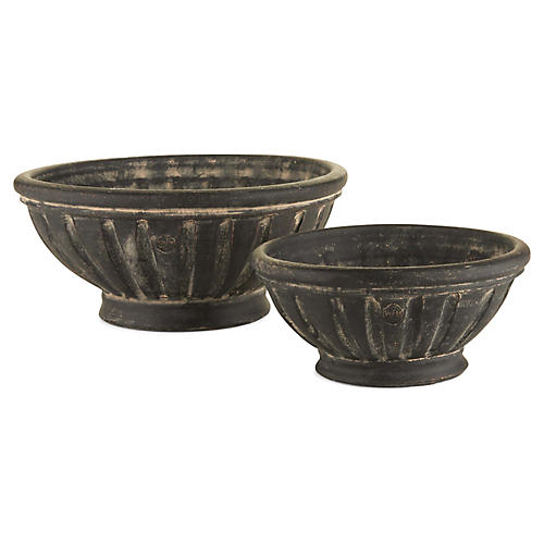 Asst. of 2 Amand Outdoor Planters, Black Earth
