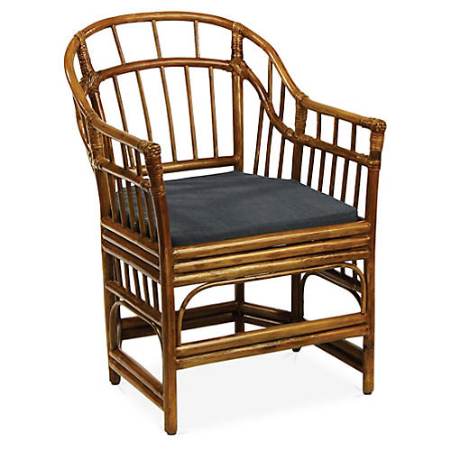 Burma Accent Chair, Navy/Brown