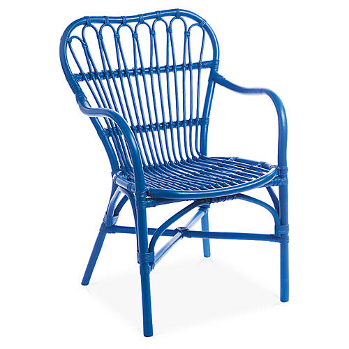 American Revival Accent Chair, Blue