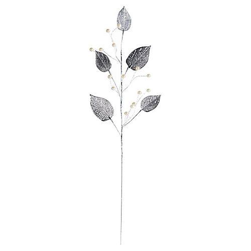 Leaf Stem Ornamental Pick, Silver