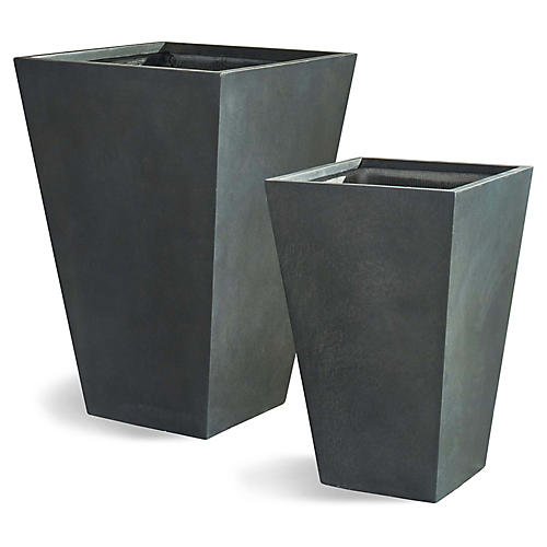 Asst. of 2 Barat Outdoor Planters, Slate Gray