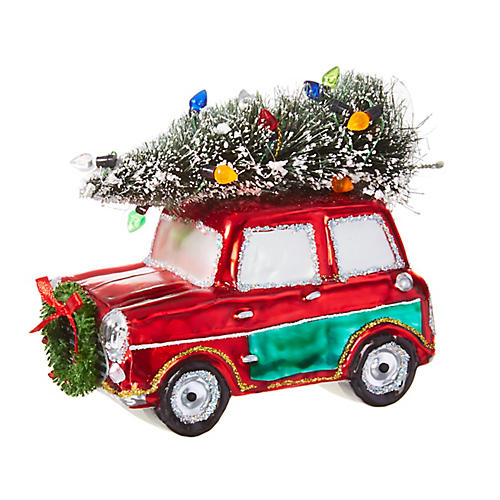 Car & Tree Ornament, Red/Multi