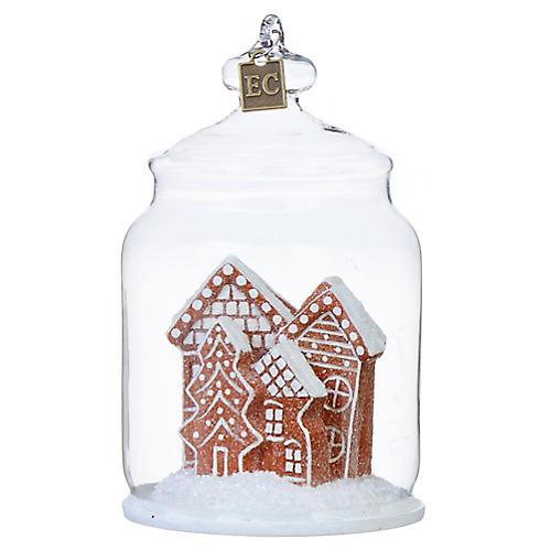 Gingerbread Cookie Jar Ornament, White/Brown