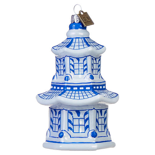Pagoda Ornament, Blue/White