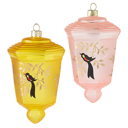 S/2 Alta Ornaments, Pink/Yellow