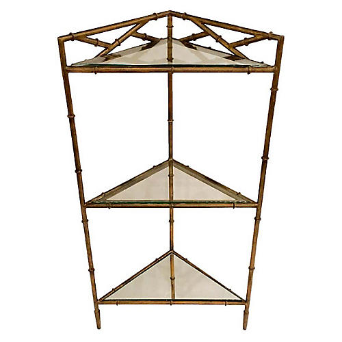 Triangle 3-Tier Side Table, Antiqued Gold