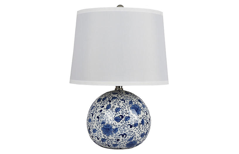 Winnie Table Lamp, Blue/White