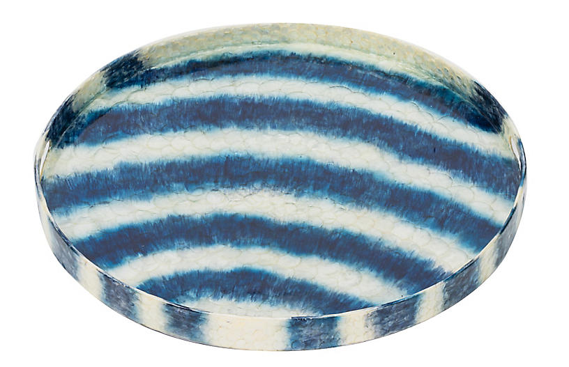 Capiz Tie-Dye Tray, Blue