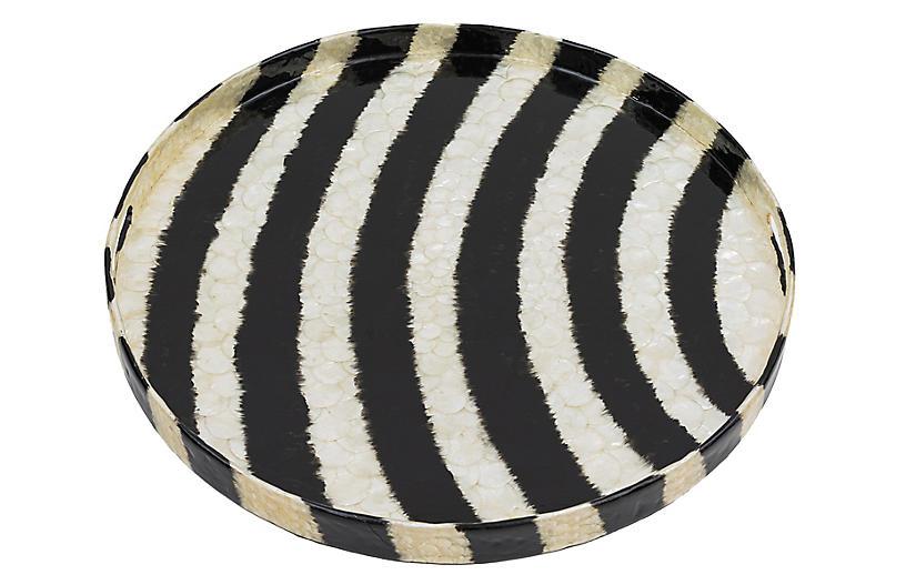 Capiz Tie-Dye Tray, Black