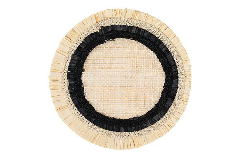 S/4 Ruffle-Edge Straw Coasters, Black/Natural