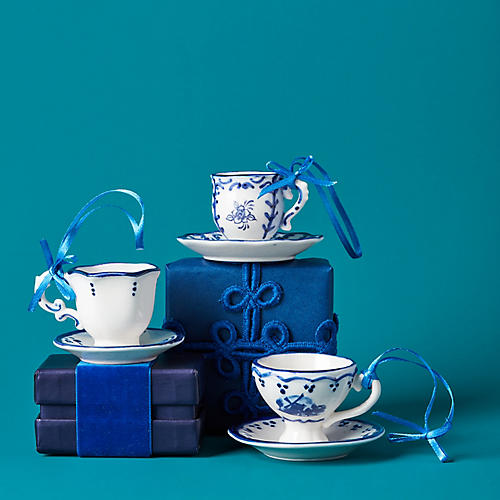 Asst. of 3 Teacup & Saucer Ornaments, Blue/White