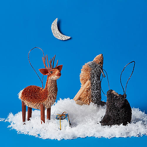 Asst. of 3 Teton Animal Ornaments, Umber/Multi