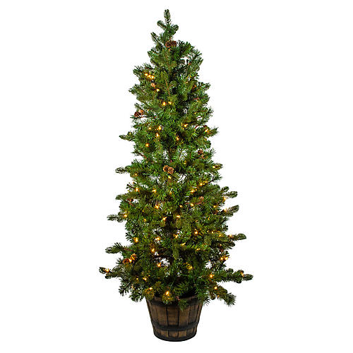 Potted Pre-Lit Pinecone Tree, Faux, Green