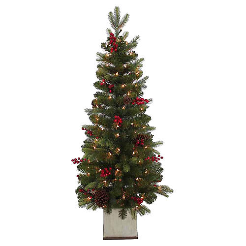 Berry Pre-Lit Topiary Tree, Faux, Green