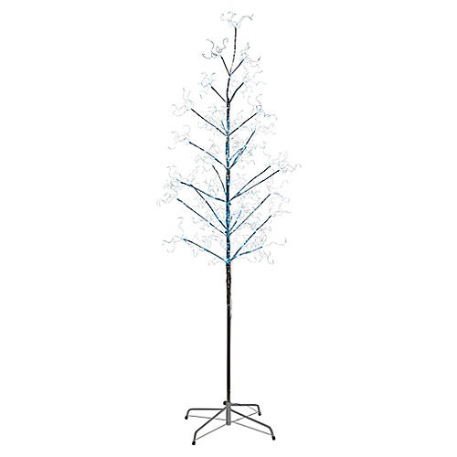Icey LED-Lit Tree, Faux, Silver
