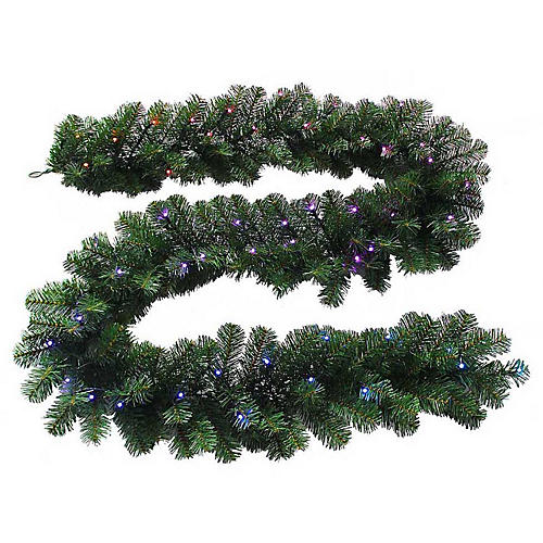 Twinkly LED-Lit Faux Garland, Green/Multi