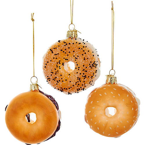 Asst. of 3 Bagel Ornaments, Tan/White