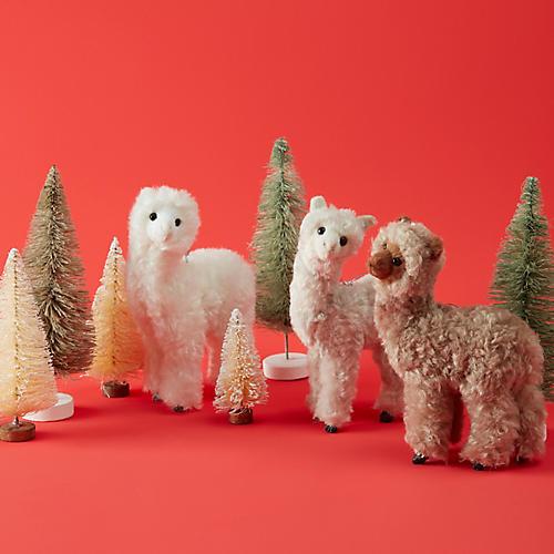 Asst. of 3 Furry Alpaca Ornaments, Ivory/Multi
