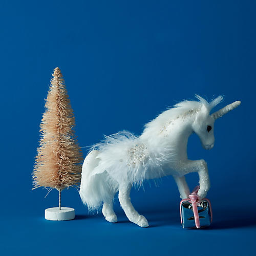 Trotting Unicorn Ornament, White