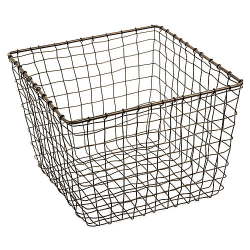 "11"" Bosworth Medium Storage Basket, Gray"
