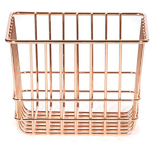 "7"" Lawton Small Storage Basket, Copper"