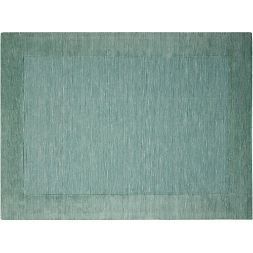 Ripple Hand-Knotted Rug, Azure Green/Blue