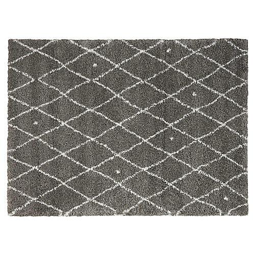 Riad Diamond Rug, Gray/Ivory