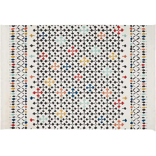 Fox Kids' Rug, White