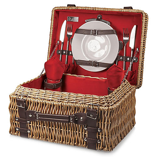 Champion Picnic Basket Set, Red/Multi