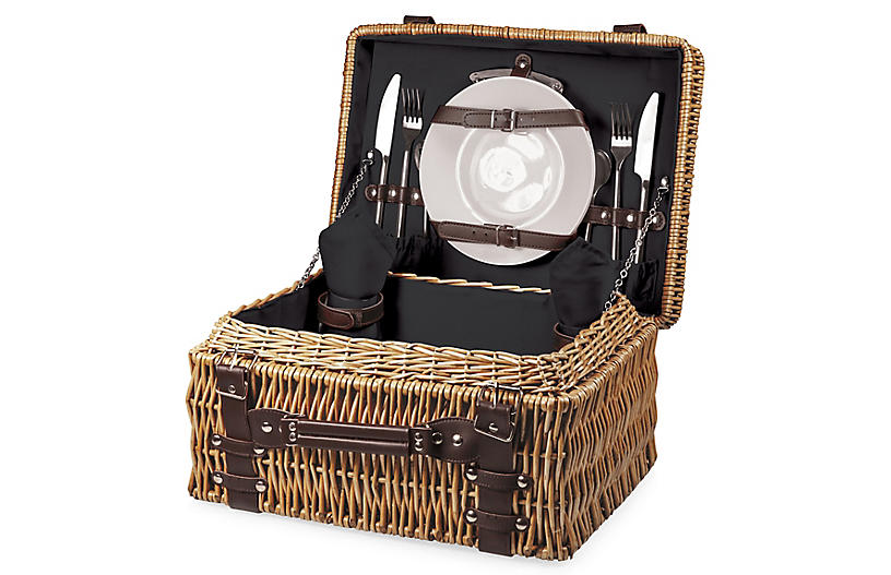 Champion Picnic Basket Set, Black/Multi