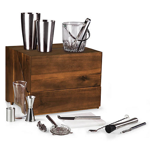 Madison Tabletop Bar Set, Cherry/Multi