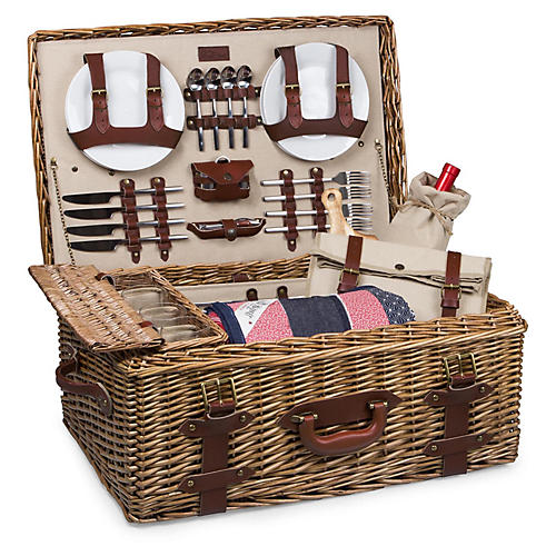 Charleston Picnic Basket Set, Natural/Multi