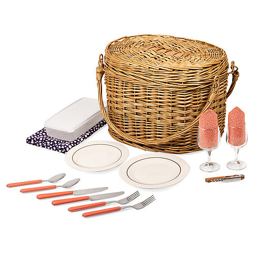 Romance Picnic Basket Set, Natural/Multi