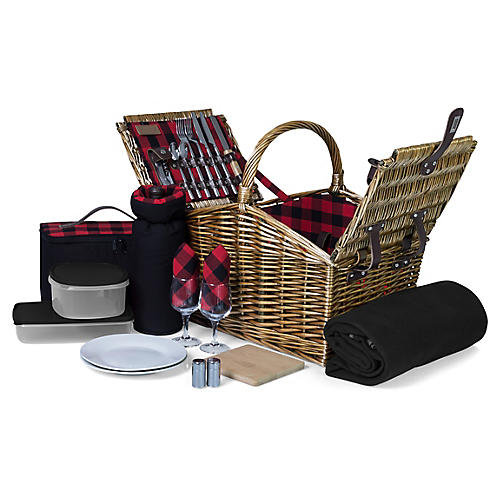 Somerset Picnic Basket Set, Natural/Multi