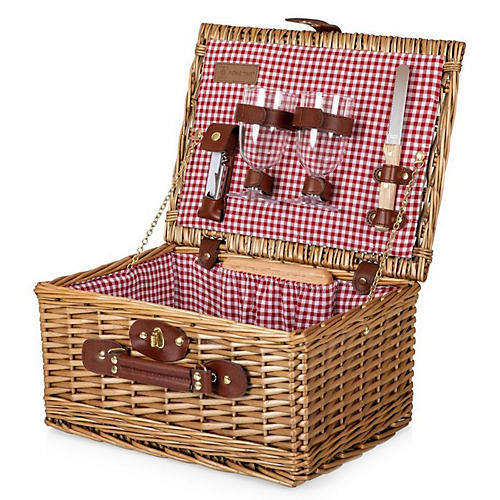Foley Wine & Cheese Picnic Basket, Red/White Check