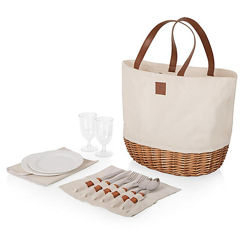 Bryant Picnic Tote Set, Natural